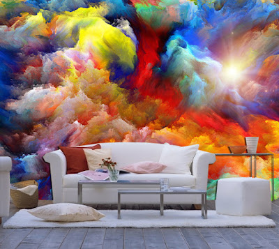 3D wall art 3D mural wallpaper behind sofa