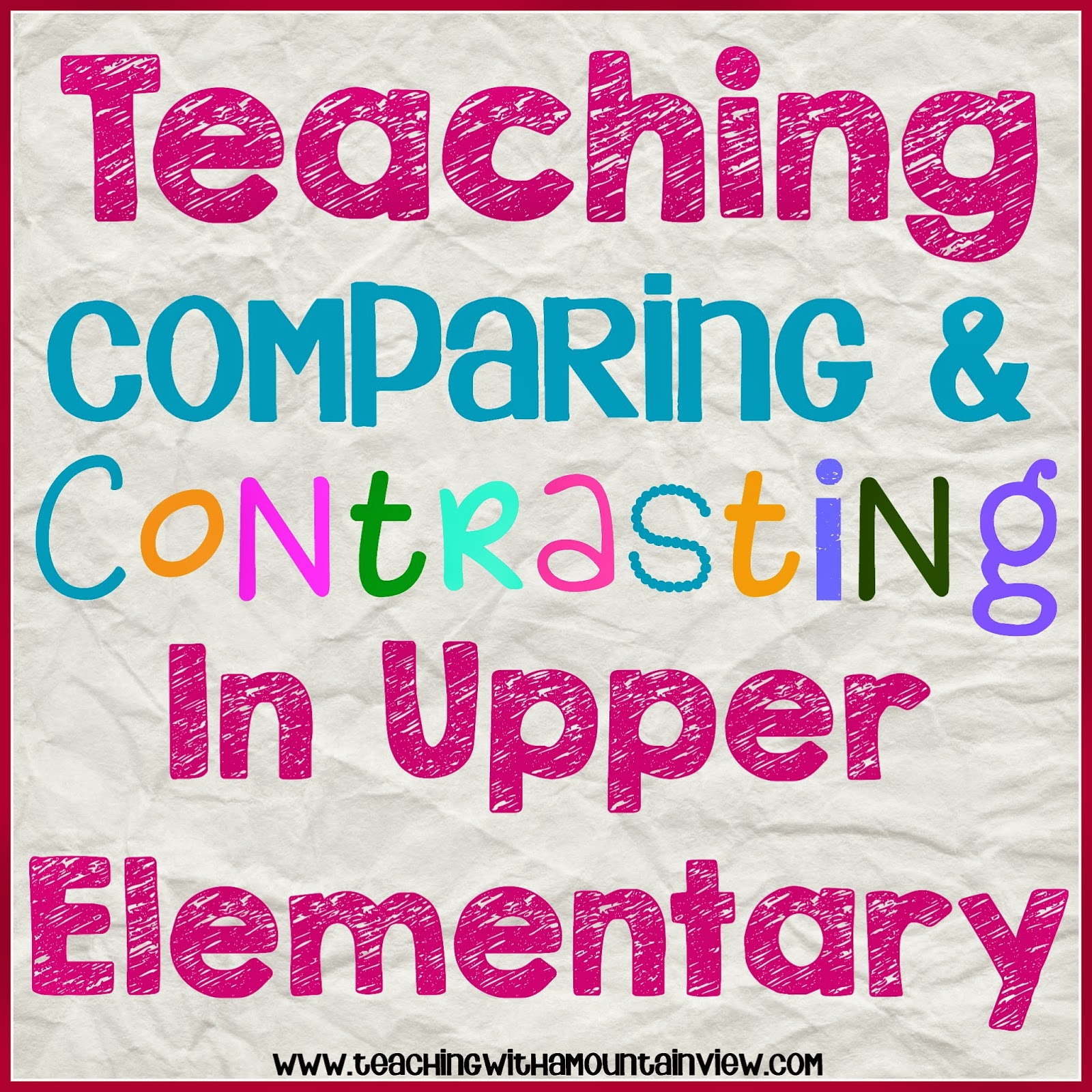 Compare And Contrast Paragraph Examples 4th Grade Compare