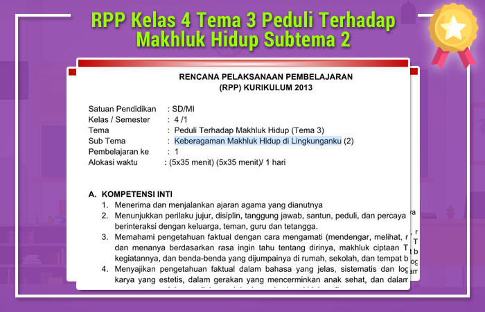 RPP Kelas 4 Tema 3 Peduli Terhadap Makhluk Hidup Subtema 2