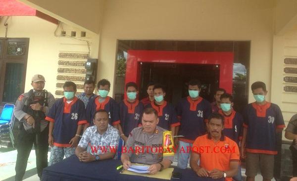 7 Orang Tersangka, Polres Barut Berhasil Gagalkan Delapan Truk Muatan Kayu Ilegal di Bukit Gading