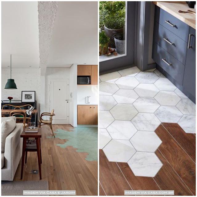 piso diferente sala cozinha