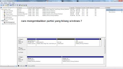 cara mengembalikan partisi harddisk yang hilang di windows 7