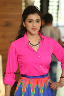 Actress Mannar Chopra in Pink Top and Blue Skirt at Rogue movie Interview  0106.JPG