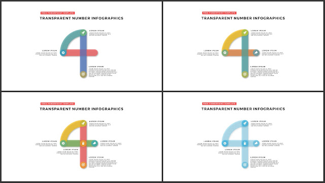 Infographic Transparent Design Elements for PowerPoint Templates in white background using Number 4