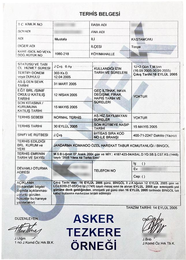 tezkere ornegi asker terhis belgesi - Bedelli Askerlik ve Bedelli Askerlik Programı Detayları
