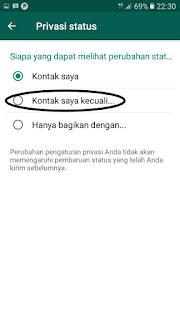 cara mengatur privasi status whatsApp