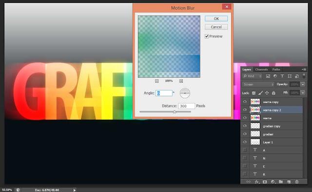 Cara membuat teks dengan efek warna pelangi menggunakan photoshop