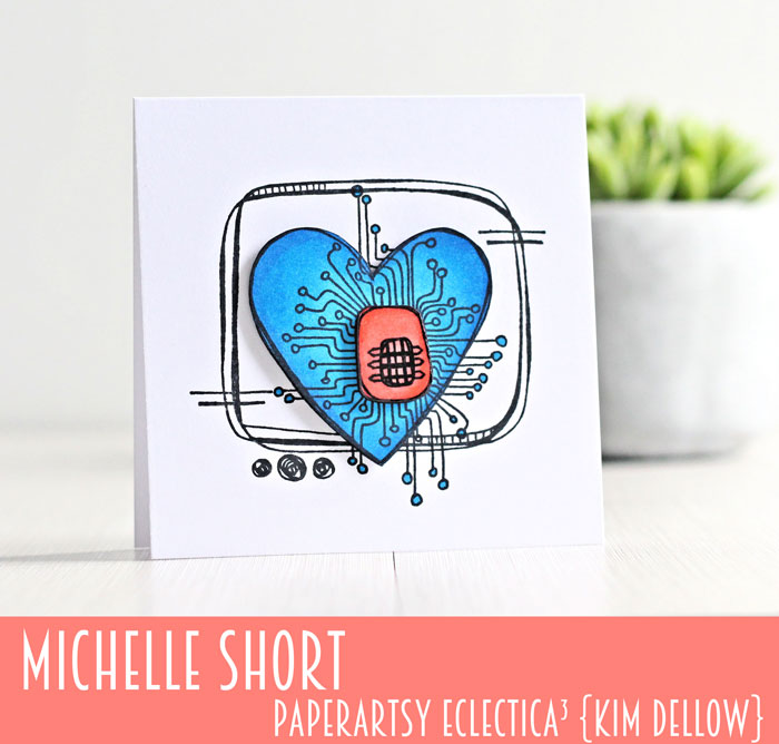 New PaperArtsy Eclectica³ {Kim Dellow} Products Showcase: Michelle Short Retro-Electro Heart Card
