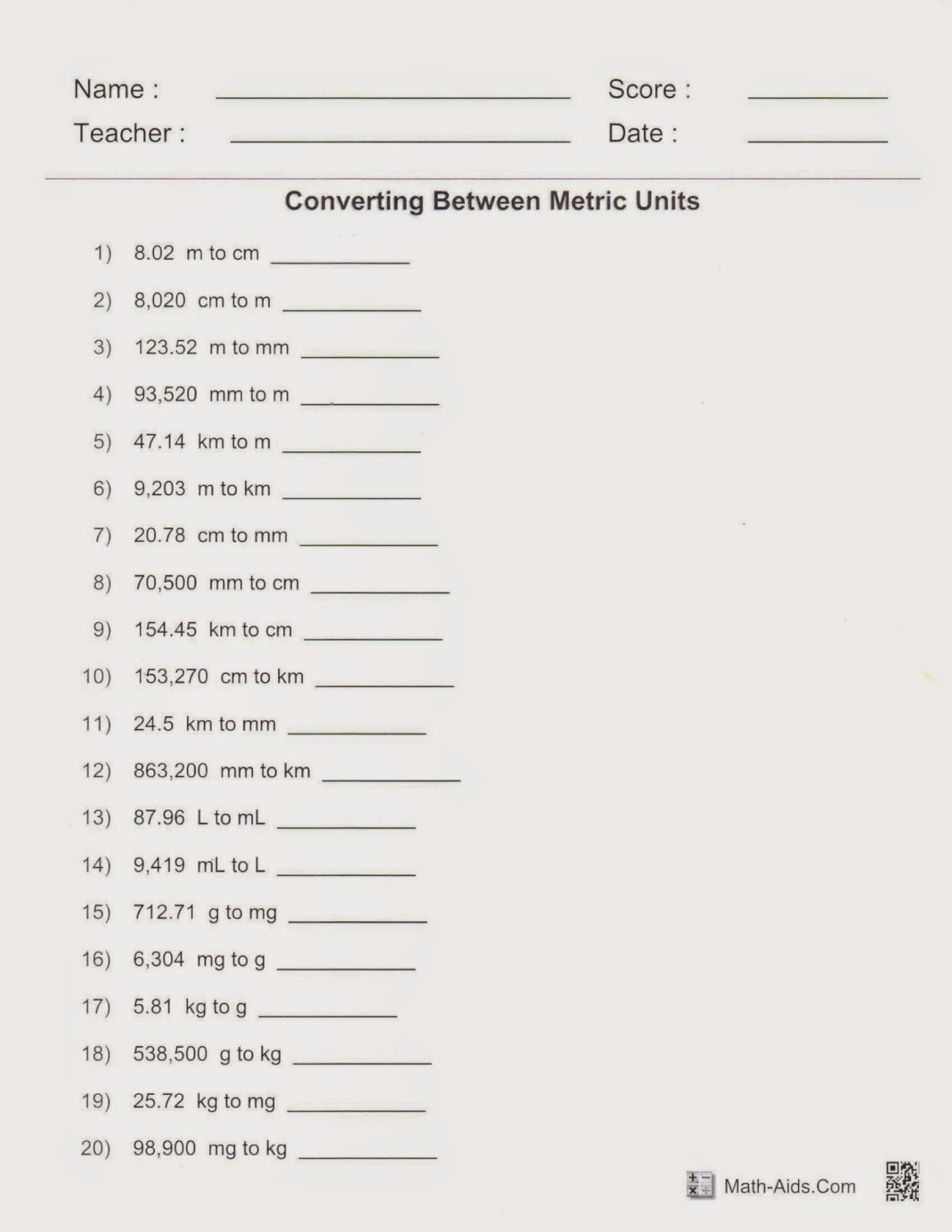 Mrs White S 6th Grade Math Blog Metric Conversions