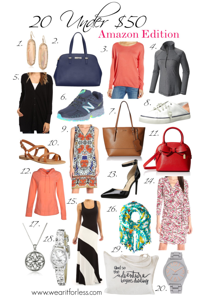 Amazon deals on 1. Earrings | 2. Satchel | 3. Sweater | 4. Half-Zip | 5. Cardigan | 6. Running Shoes | 7. Tote | 8. Boat Shoes | 9. Dress | 10. Sandals | 11. Satchel | 12. Hoodie | 13. Pumps | 14. Wrap Dress | 15. Maxi Dress | 16. Scarf | 17. Necklace | 18. Watch | 19. Travel Tote | 20. Watch