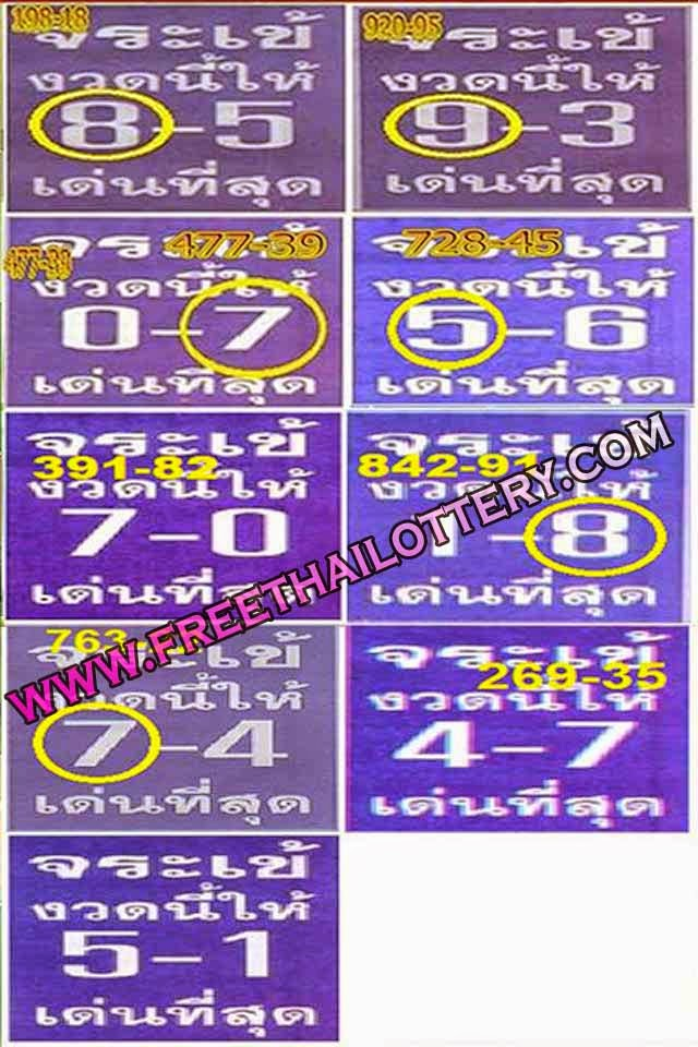THAI LOTTERY LOTTO SURE SPECIAL TOUCH TIP 01-10-2014