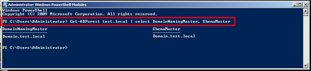 Comando Get-ADDomain test.local | select InfrastructureMaster, PDCEmulator, RIDMaster