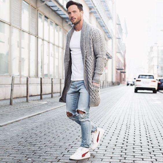 Cardigan de lã longo marrom moda masculina Calitta
