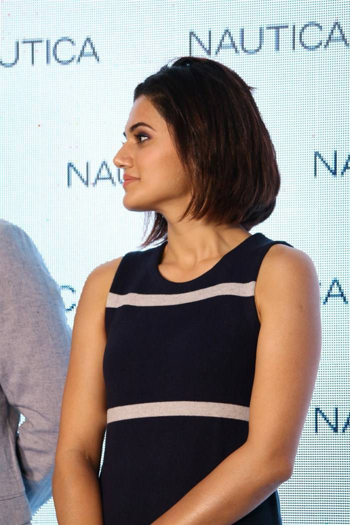 Indian Actress Taapsee Hot Legs Show Photos In Blue Top At  Shop Launch