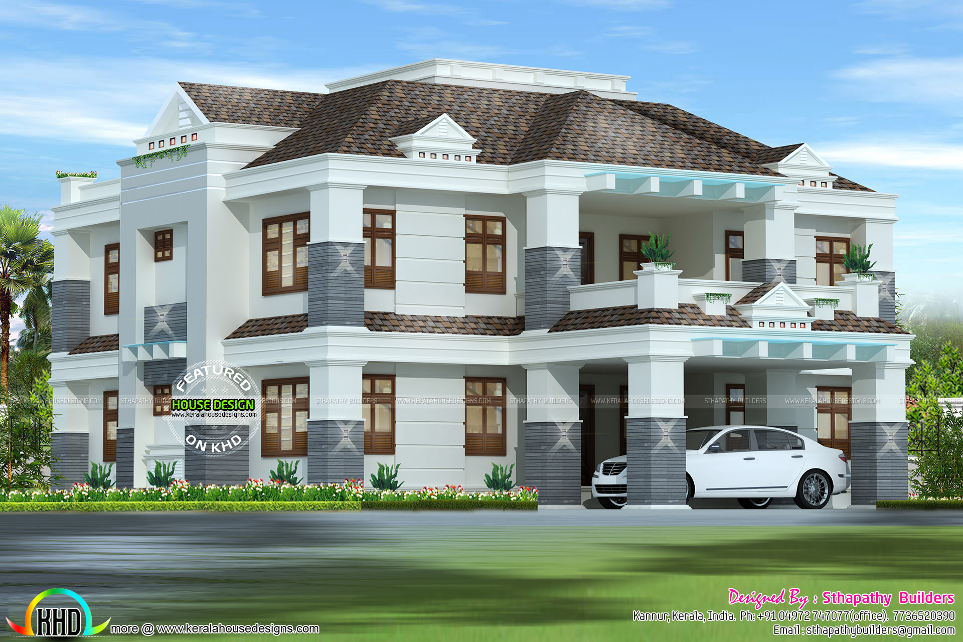 Full Vastu Based Home By Sthapathy Builders Kerala Home Design - Colonial style home design in kerala