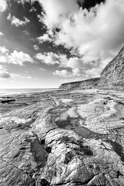 Black and white image of Kimmeridge Bay on the Dorset Jurassic Coast