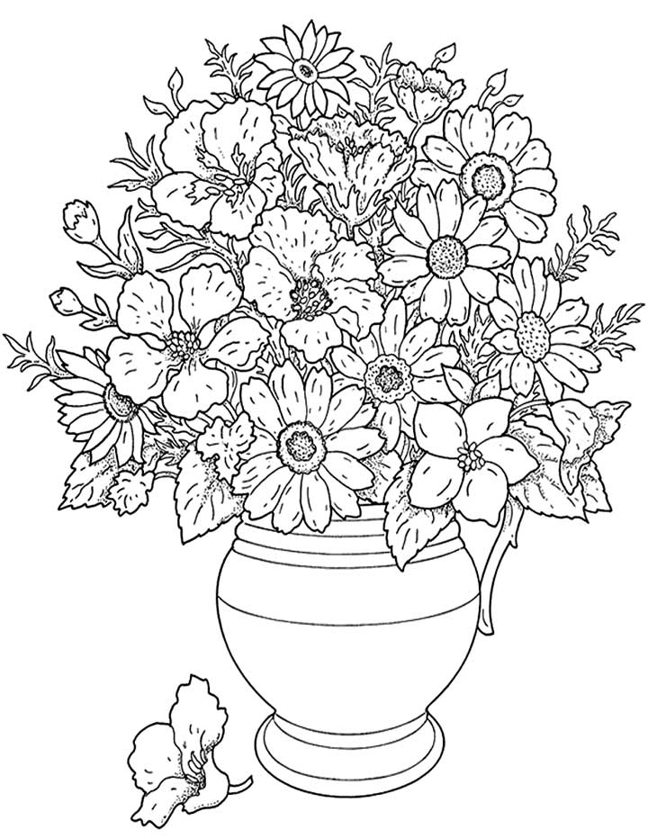 Free Flower Coloring Pages For Adults - Flower Coloring Page