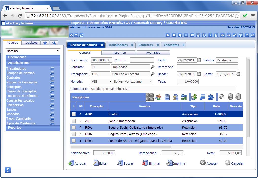eFactory Nómina Cloud - Productos Web de eFactory: ERP/CRM, Nómina, Contabilidad, Punto de Venta, Productos para Móviles y Tabletas