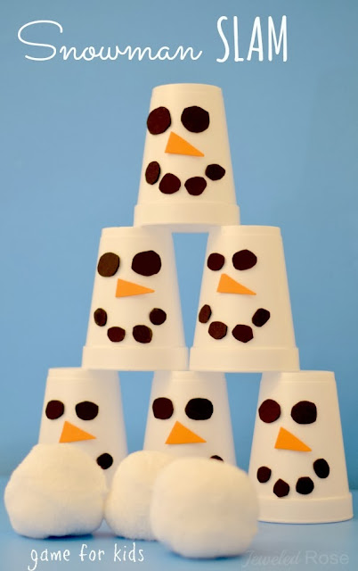 SNOWMAN SLAM! Easy to make game for kids.  Great for class parties and a great boredom buster!  #kidsgames #wintergamesforkids