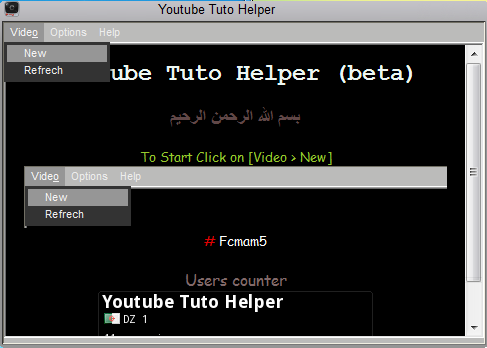 Youtube tuto helper main page , open youtube video