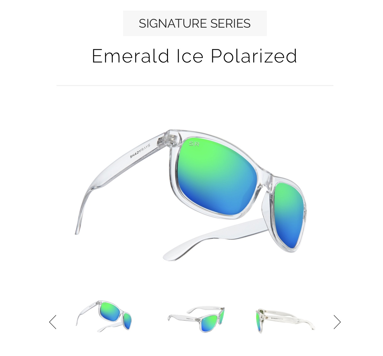 b38cda815dc6 I chose the Signature Series Emerald Ice Polarized as the frames are clear  and the polarized lenses are green and blue.