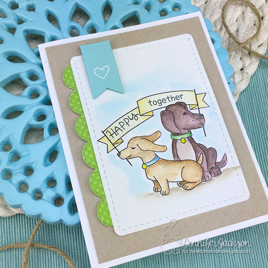 Happy Dogs Card by Jennifer Jackson | STAMPtember Exclusive: Hello Beautiful Stamp Set by Newton's Nook Designs #newtonsnook #handmade