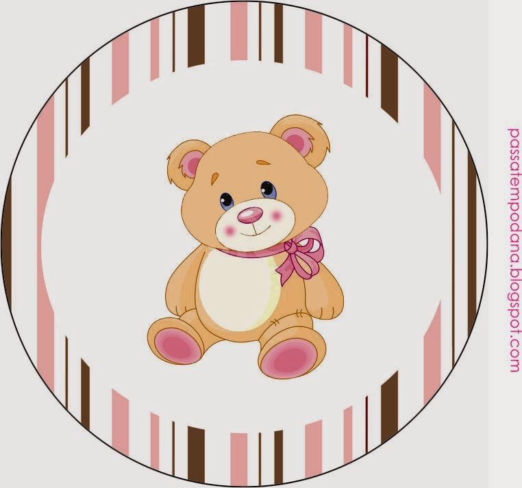 Girl Teddy Bear: Free Printable  Cupcake Wrappers and Toppers.