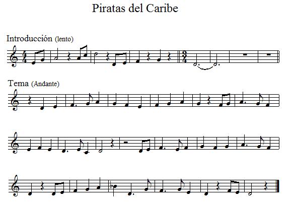 PARTITURAS PARA FLAUTA: PIRATAS DEL CARIBE