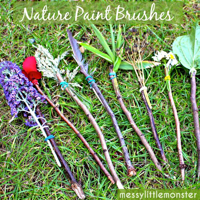 How to make DIY nature paint brushes. A simple stick craft and outdoor process art idea for kids.  An easy activity for toddlers, preschoolers and older kids.