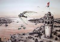 Hezarfen Ahmet Çelebi Galata Kulesinden uçarken...