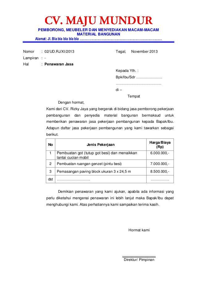 Contoh Surat Penawaran Barang atau Produk untuk Swasta dan Pemerintahan atau Kantor - contohsuratmu.com
