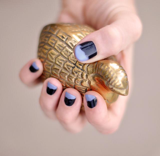 nails, manicure, brass bird figurine