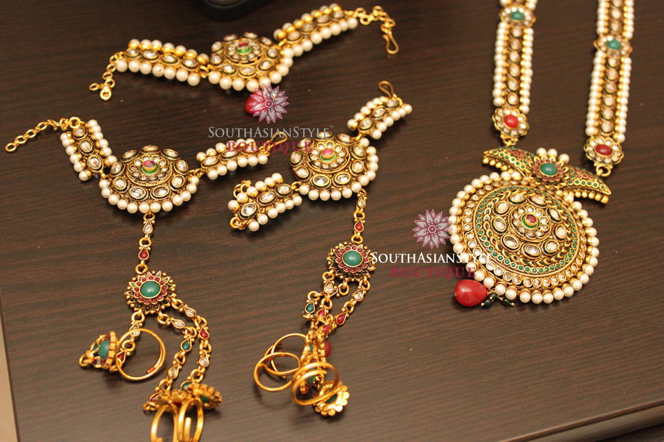 Red, Green, Pearl Bridal Dulhan Jewellery Set
