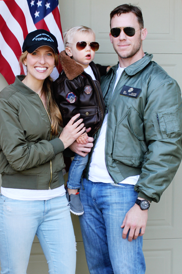 Family Halloween costume - Top Gun pilots