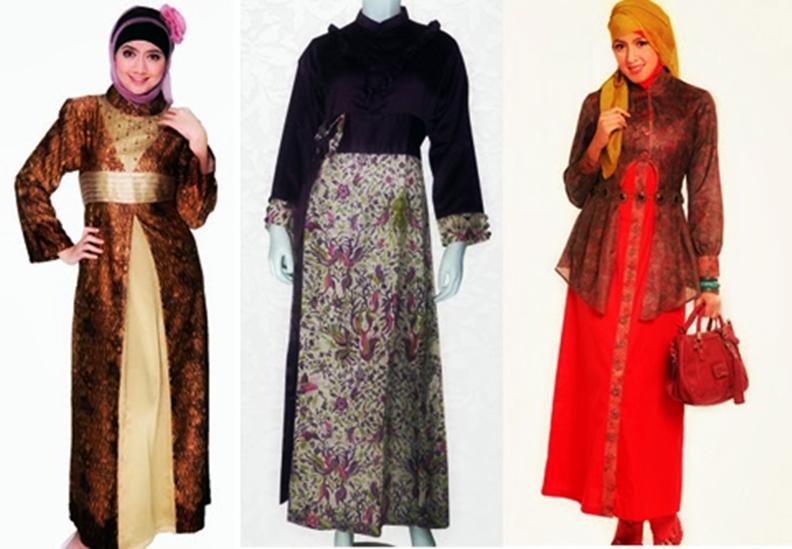 Model Gamis Batik Kombinasi Untuk Orang Gemuk Trend Fashion Indonesia