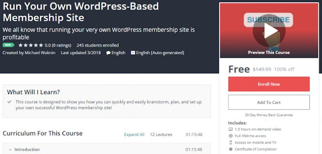 [100% Off] Run Your Own WordPress-Based Membership Site| Worth 149,99$