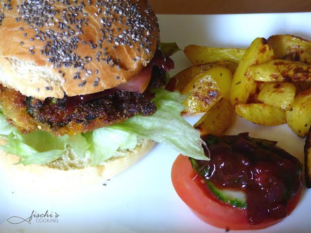 fischiscooking, veggie burger, burger buns, bärlauch bbq sauce