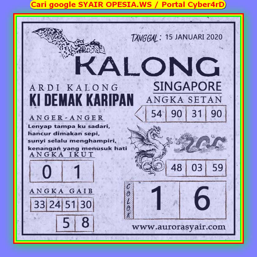 Kode syair Singapore Rabu 15 Januari 2020 121