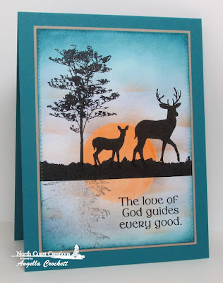 NCC Deer Silhouette Greetings, ODBD St Patrick's Day, ODBD Custom Pierced Rectangles dies, Card Designer Angie Crockett