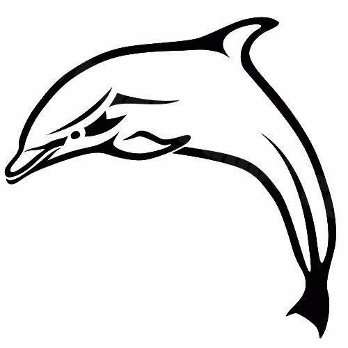 Dolphin jumping tattoo stencil