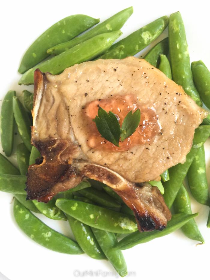 Alaskan Fireweed Jelly Pork Chops with Garden Snap Peas