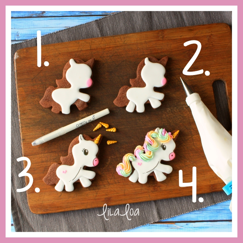 Rainbow haired unicorn cookie decorating tutorial