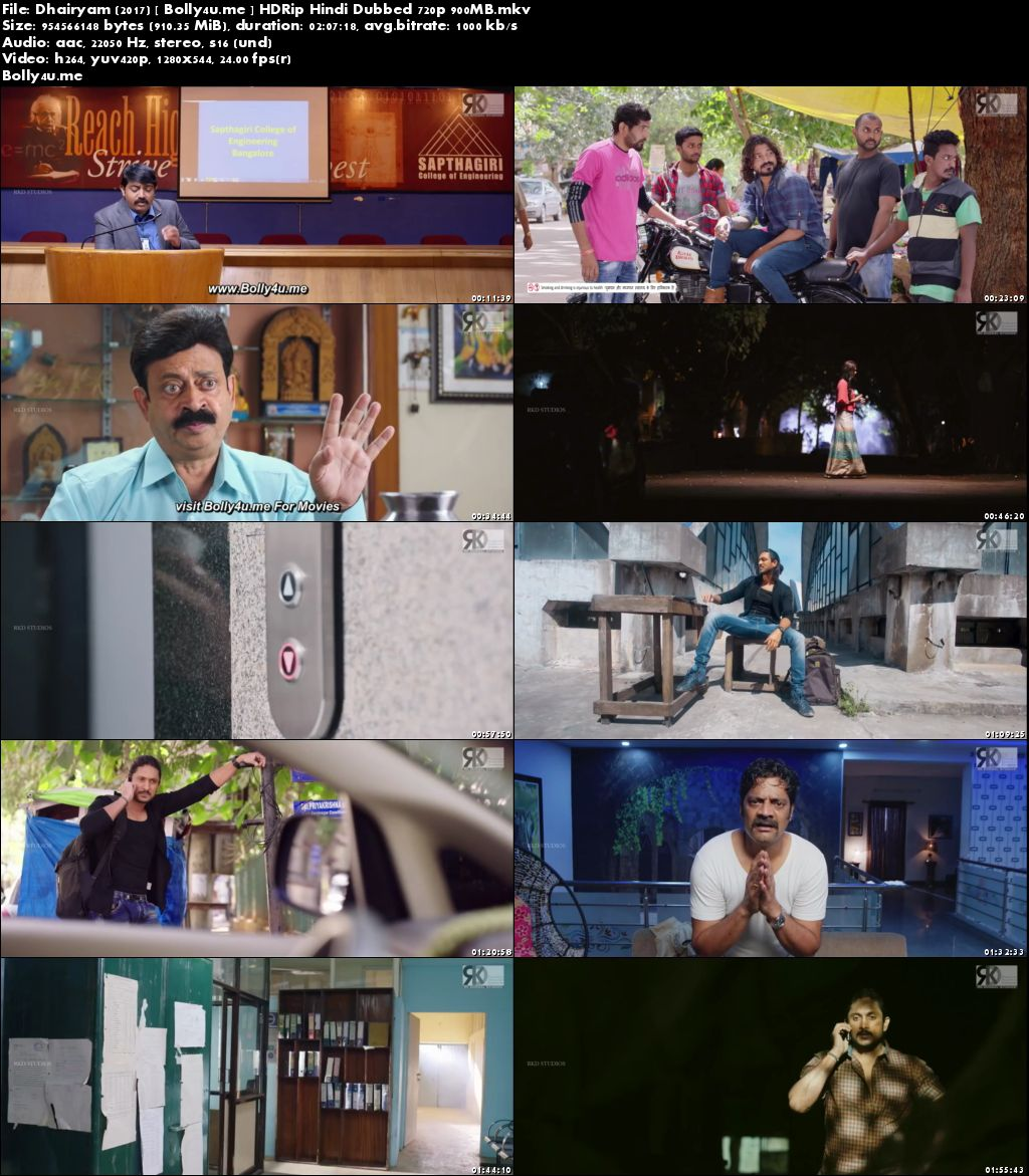 Dhairyam 2017 HDRip 900MB Hindi Dubbed 720p Download