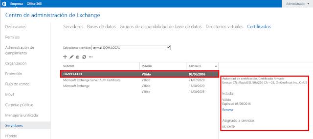 Certificado de Microsoft Exchange 2013 importado correctamente.
