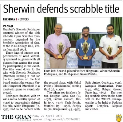 Sherwin wins goa scrabble 2019