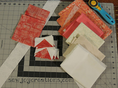 corals and neutrals fabric pull for quiltville mystery