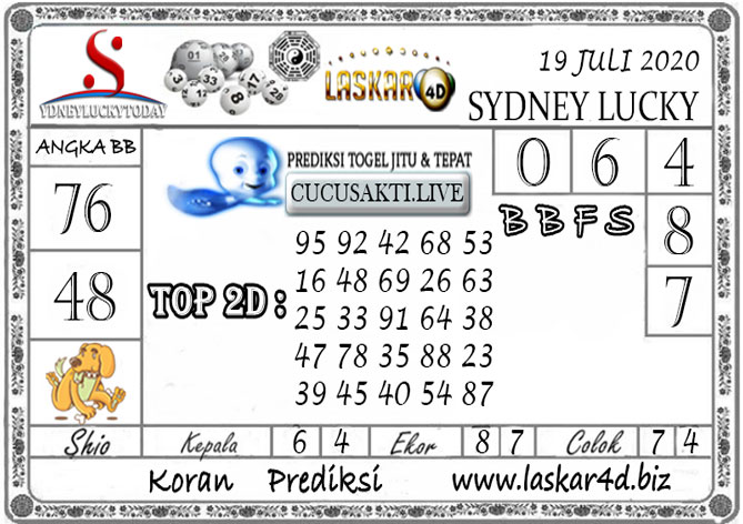 Prediksi Sydney Lucky Today LASKAR4D 19 JULI 2020
