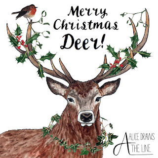Merry Christmas Deer by Alice Draws The Line