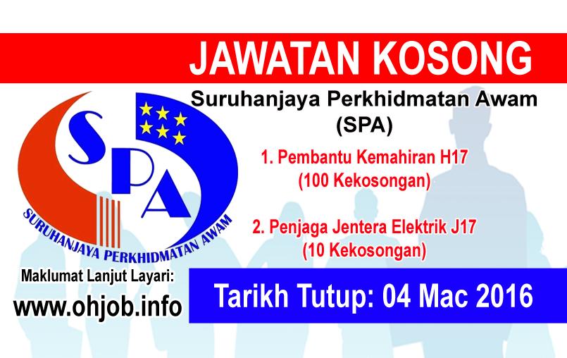 Jawatan Kerja Kosong Suruhanjaya Perkhidmatan Awam Malaysia (SPA) logo www.ohjob.info mac 2016