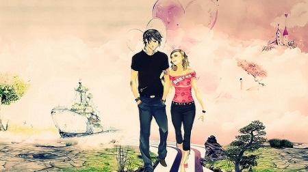 Romantic Couple Picture in Cartoon